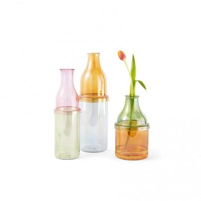 vase bouteille rose et vert