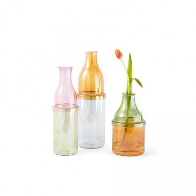Bottle vase green and pink