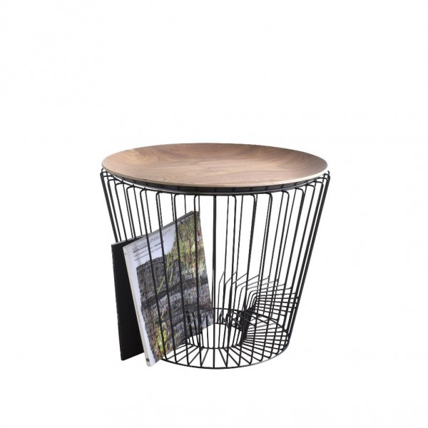 Black magazine table - natural wood cover