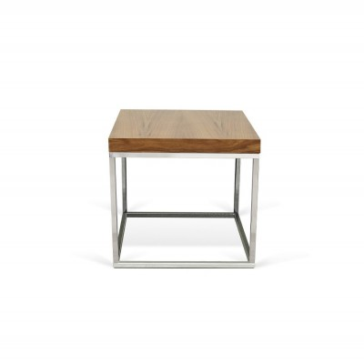 Table-basse Cube Noyer Chrome