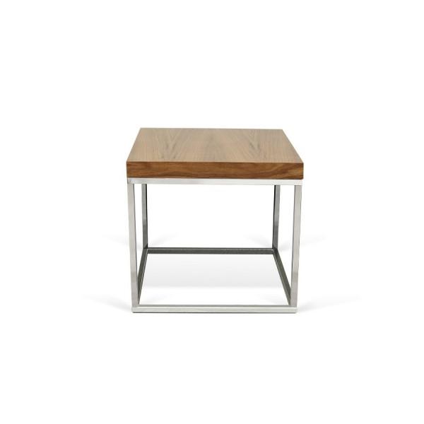 Table-basse Cube Noyer Chrome
