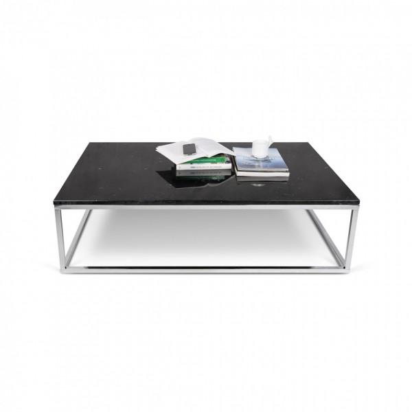 La véritable table-basse marbre noir & chrome