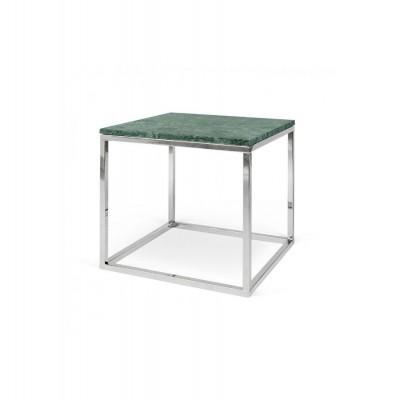 Table-basse Cube Parfait Marbre vert & Pieds chromés