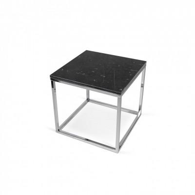 Table-basse Cube Parfait Marbre Emperador & Pieds Noirs