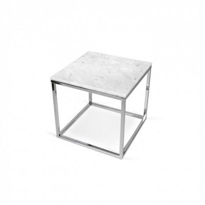 Table-basse Cube Parfait Marbre Carrare & Pieds chromés