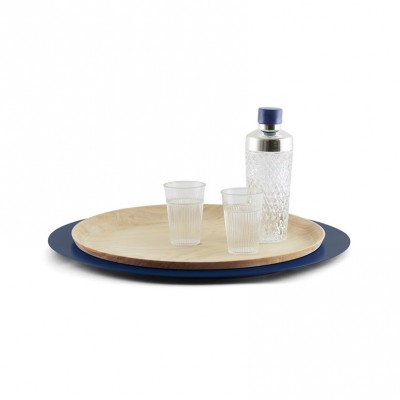 Wooden and metal tray Blue