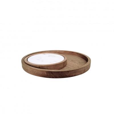 Plateaux-disques marbre & chêne