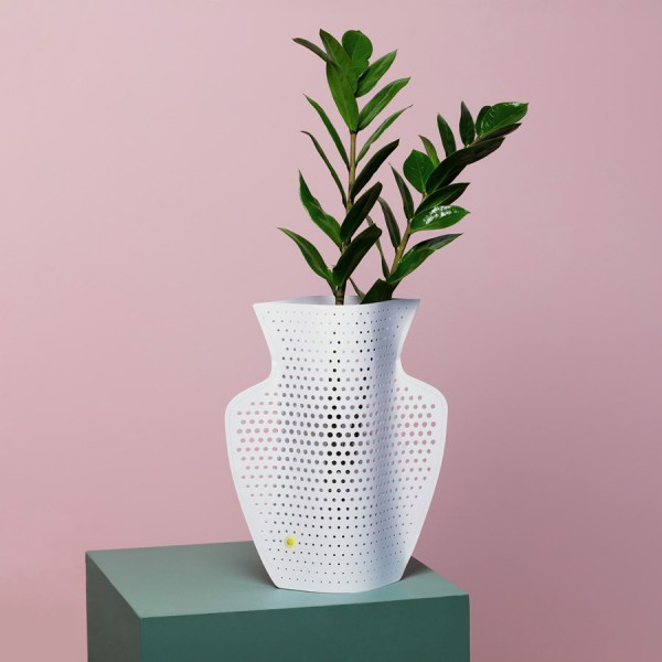 Perforated white cover vase