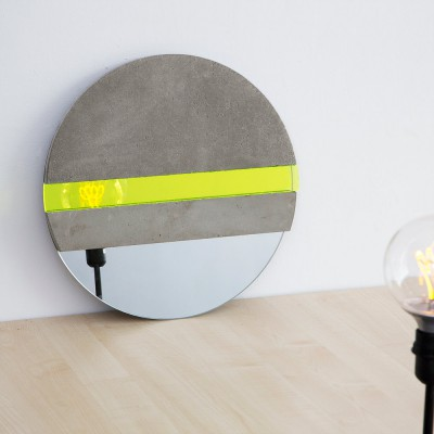 XO Mirror concrete and yellow