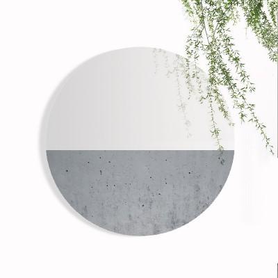 Grand miroir circulaire béton