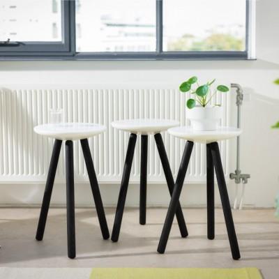 Spa stool marble & black wood
