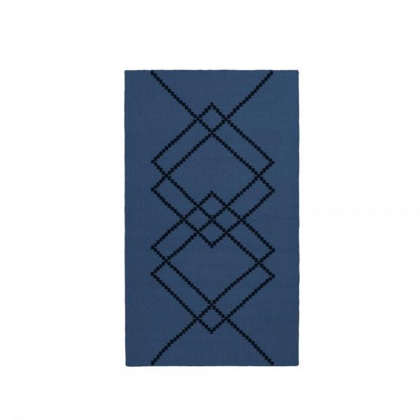 Petit tapis borg bleu fonc et noir arne concept Tapis noir et bleu