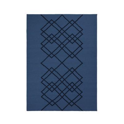 Tapis Borg medium bleu foncé et noir