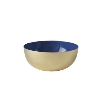 Bowl brass enamel blue