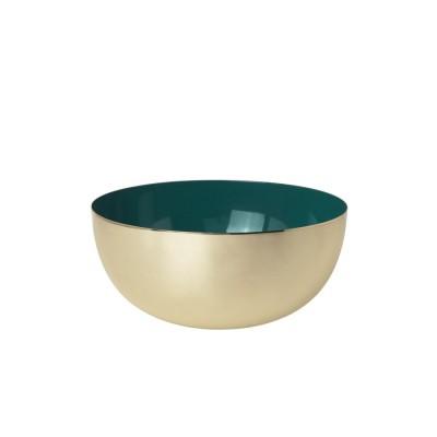 Bowl brass enamel jade green