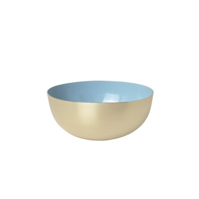 Bowl brass enamel light blue