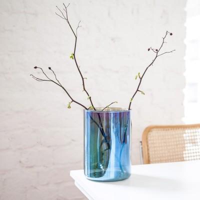 Vase bas verre et titane
