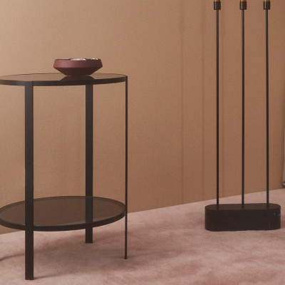 Table d'appoint double plateaux noire