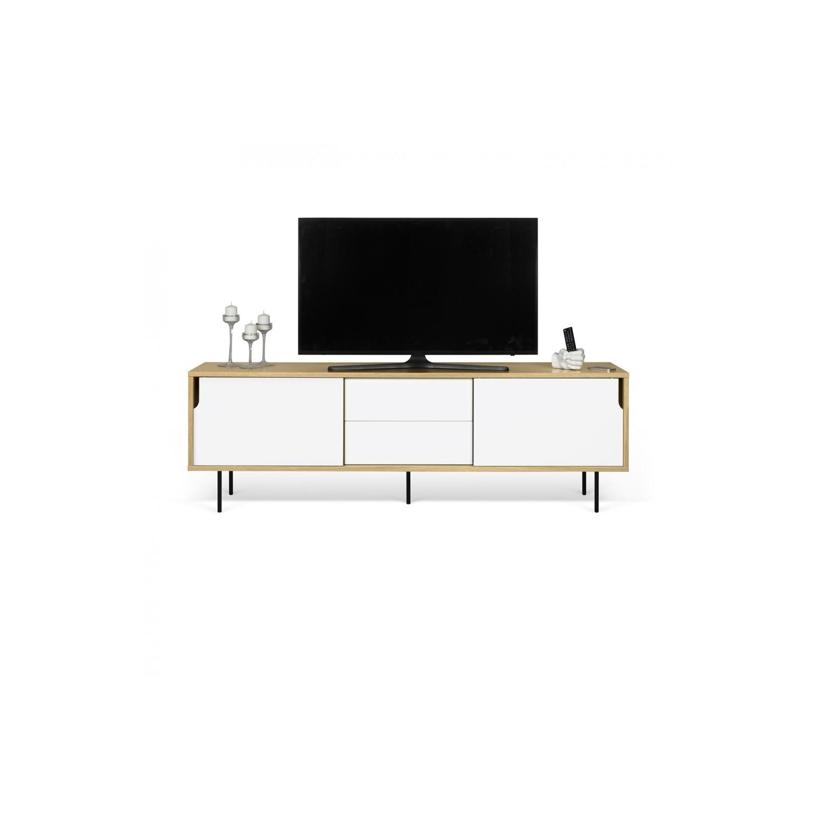 Meuble Tv Danois Blanc Et Bois Arne Concept # Meuble Tv Bois Blanc