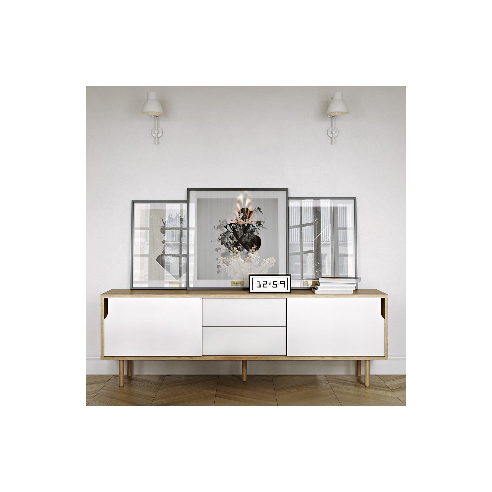 Meuble Tv Danois Blanc Et Bois Arne Concept # Meuble Tv Blanc Bois