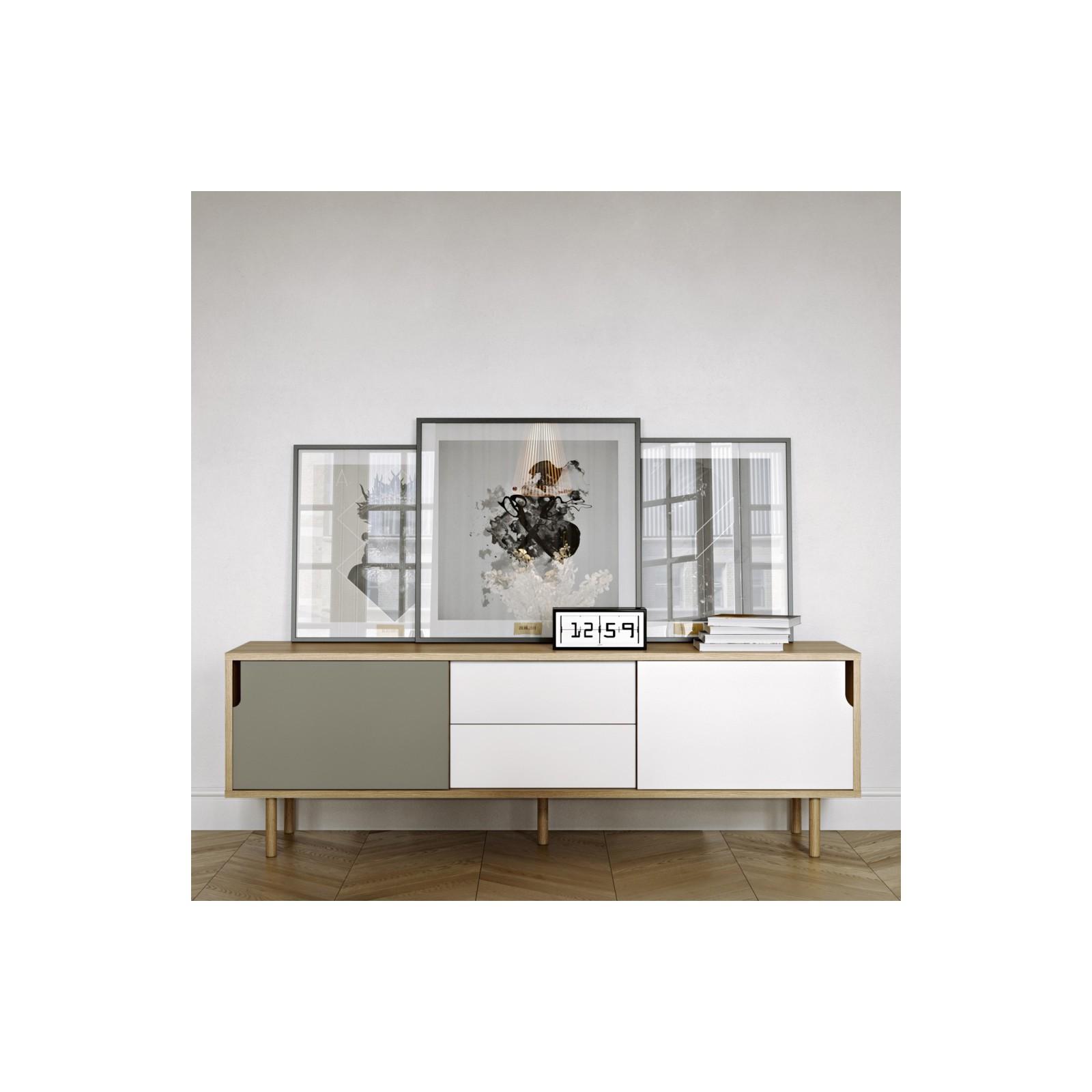 meuble tv danois gris blanc et bois arne concept. Black Bedroom Furniture Sets. Home Design Ideas