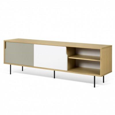 Meuble TV Danois gris, blanc et bois