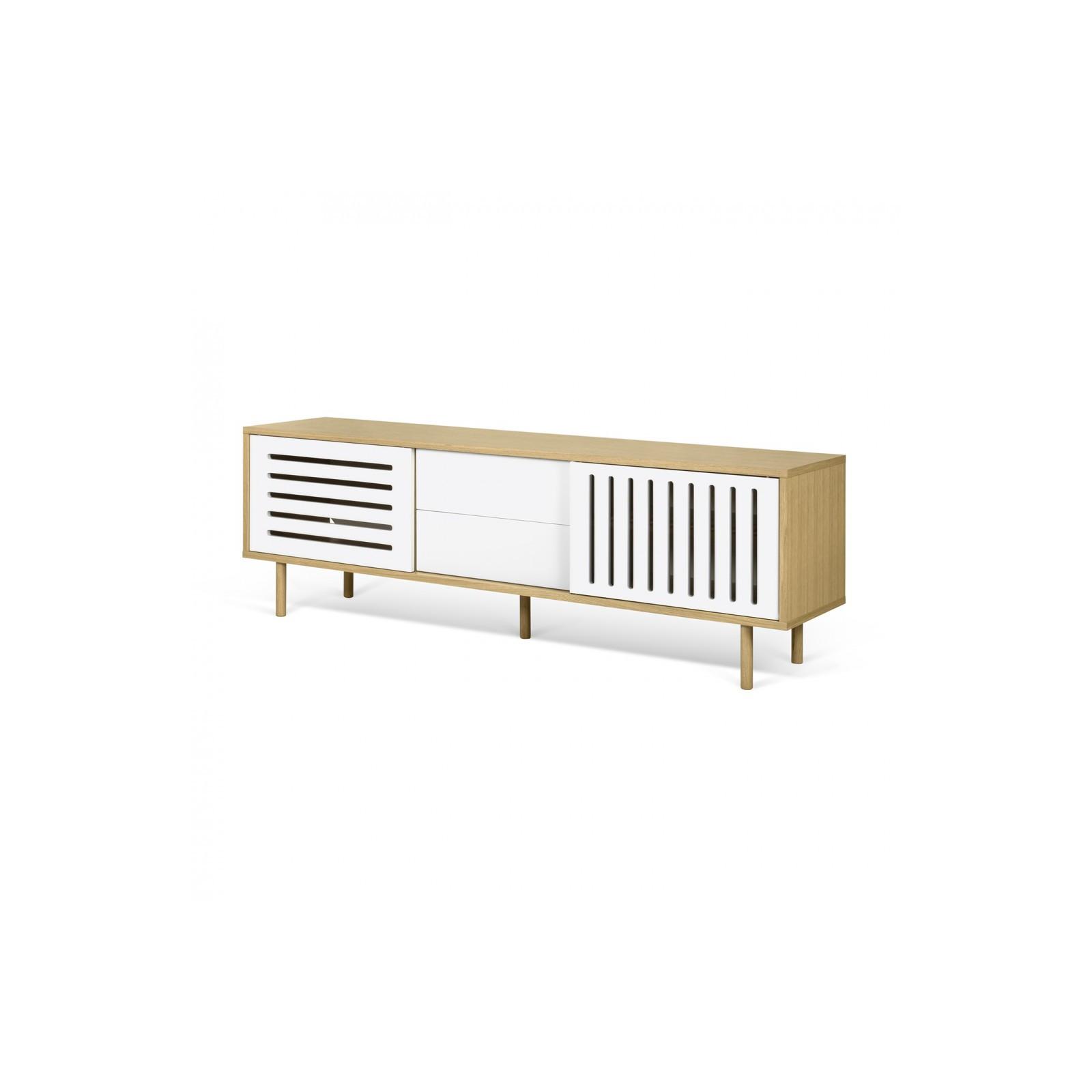 Meuble tv danois blanc et bois ray arne concept for Meuble tv bois et blanc