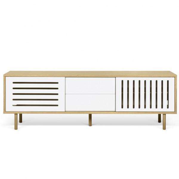 Meuble tv danois blanc et bois ray arne concept for Meuble tv blanc et bois