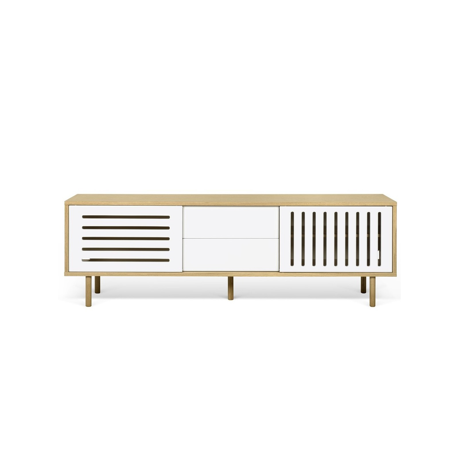 Meuble tv danois blanc et bois ray arne concept - Meuble tv blanc et bois ...