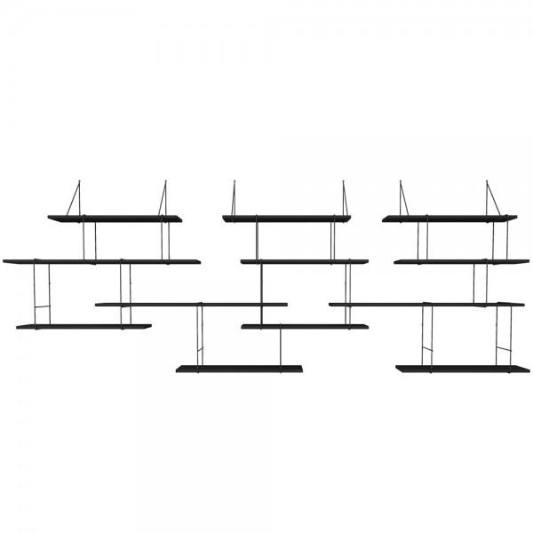 grand mur d 39 etag res fil total noir arne concept. Black Bedroom Furniture Sets. Home Design Ideas