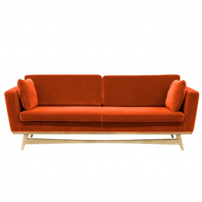 Large Vintage Sofa Orange Velvet