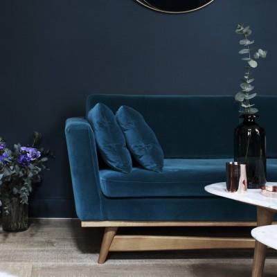 Large Vintage Sofa blue Velvet