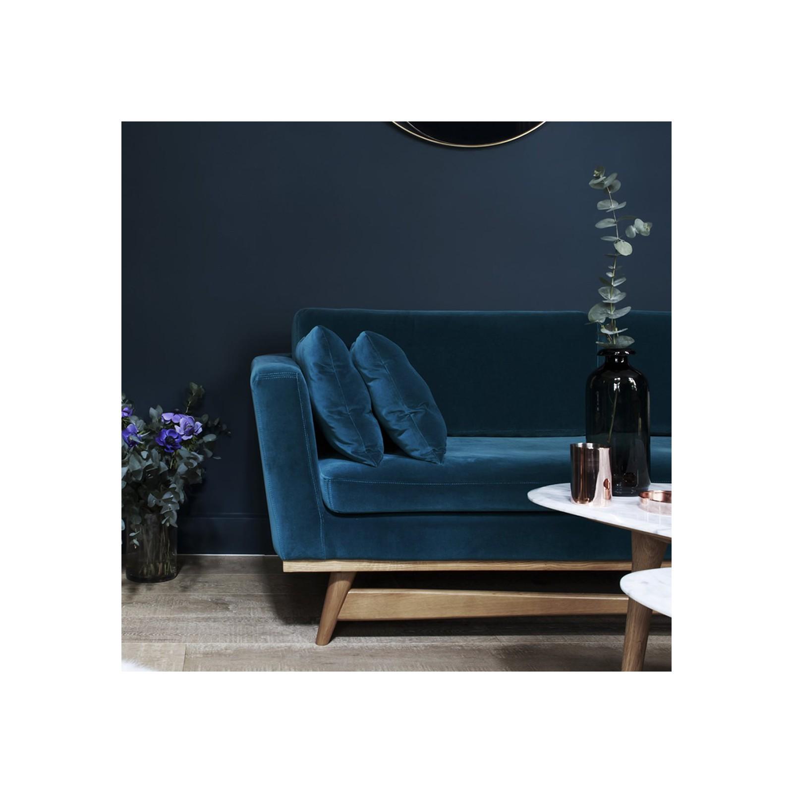 Grand Canape Vintage Velours Bleu