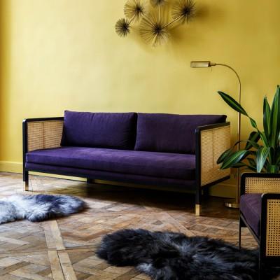 Large Caning Sofa Purple