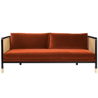 Large Caning Sofa fox velvet
