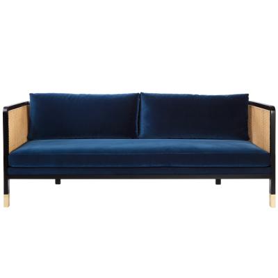 Large Caning Sofa Marine Velvet