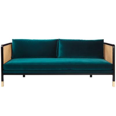 Large Caning Sofa blue velvet