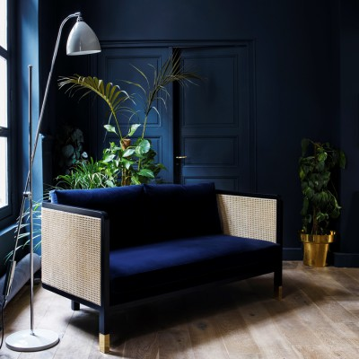 Caning Sofa grey Velvet