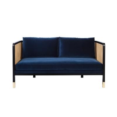 Caning Sofa Navy blue Velvet