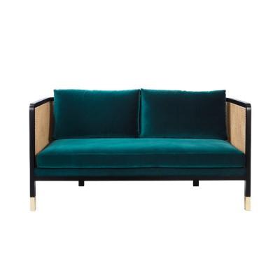 Caning Sofa blue velvet