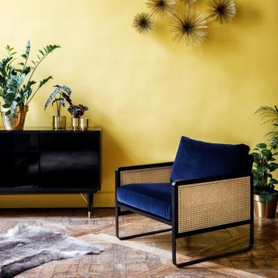 Fox Velvet Cannage Armchair