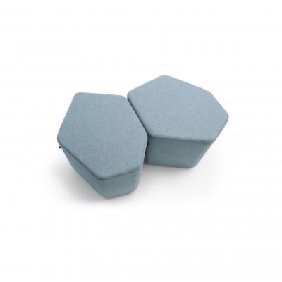 Pouf Hexa bas Bleu