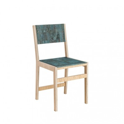 Ludity Chair Turquoise Leather Cork