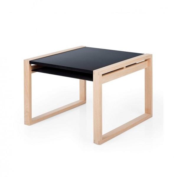 Table Cadre Noir et Bois brut