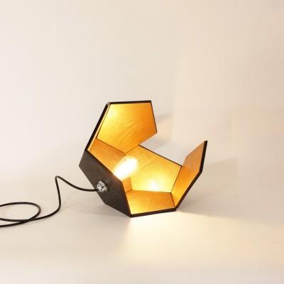 Lampe DOD bois brulé et or 4 faces