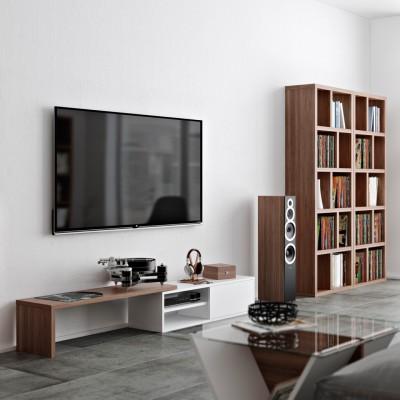 Meuble TV Modulaire noyer & blanc