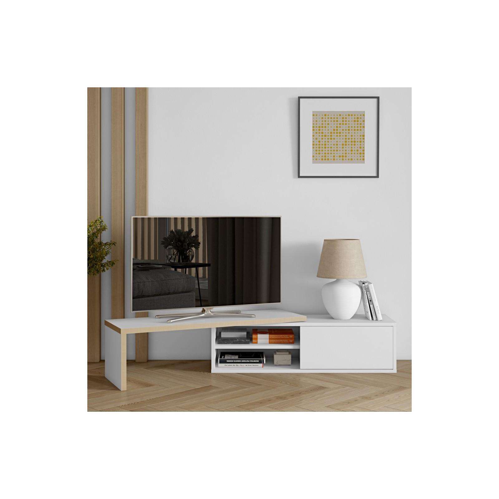 Meuble TV Modulaire contreplaqué & blanc - Arne Concept