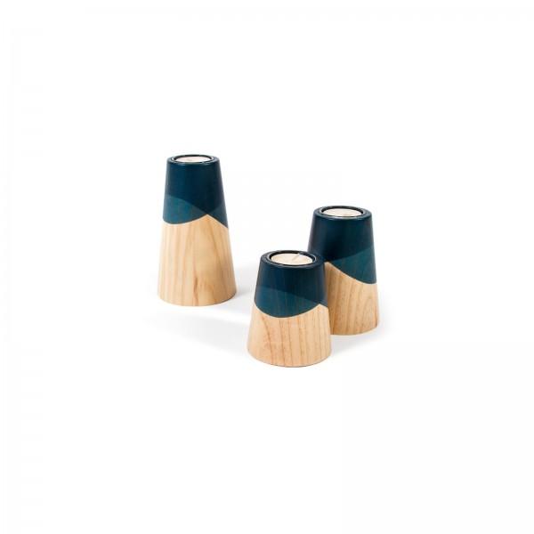 Trio de Bougeoirs Mini Volcan Bleu